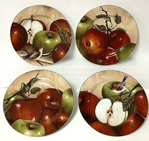 "Sakura Oneida APPLE ORCHARD 8"" Dessert Salad Plate Set Of 4 David Carter Brown"