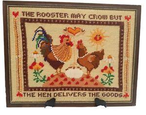 "Vintage Needlepoint Completed Crewel Framed Wall Art 14"" x 11"" Folk Art Chickens"
