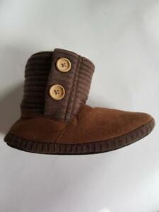 Womens Girls Coolers Ankle Knit Cuff Button Brown Warm Winter Boot Slipper