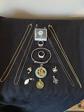 Lot 9k Gold (5g) Sterling Silver (29g), Jade (13g) & Semi Precious Stones