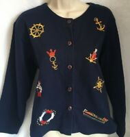 Needle And Threads Top M Embroidered Nautical Sailing Button Navy Blue Anchor