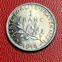#3805 - RARE - 1 franc 1918 Semeuse Argent SPL/FDC Neuve Magnifique - FACTURE