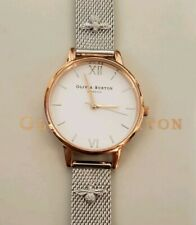 Olivia Burton Watch With 30mm White Face & Silver Mesh Breclet With 3D Bees
