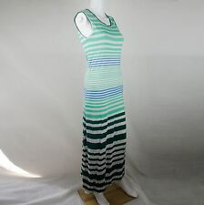 Pjk Patterson J Kincaid Maxi Sleeveles Stripes Dress Green & White Size Small