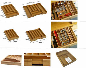 7 & 8 SECTION LARGE BAMBOO WOODEN EXPANDABLE CUTLERY TRAY DRAWER ORGANIZER TIDY