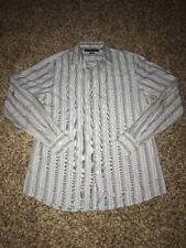 Perry Ellis Mens Shirt Size M Slim Fit Button Front Long Sleeve Blue Striped