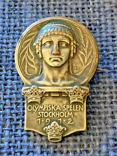 1912 Olympic Games Stockholm Sweden Official Olympic Competitor's Badge Pin RARE