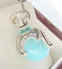 SALE ! LOVELY RUSSIAN SOLID STERLING SILVER 925  EGG PENDANT GENUINE TURQUOISE