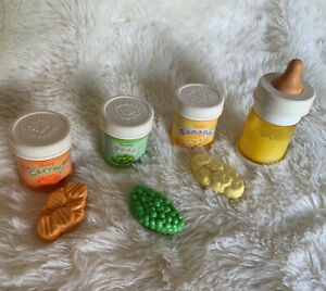 Vintage 1987 Fisher Price Play Food Baby Carrots, Peas, Bananas Bottle 1986