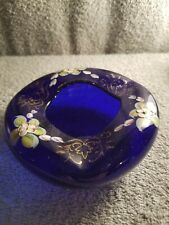 ANTIQUE MOSER ? BLUE HAND BLOWN & PAINTED GLASS ASHTRAY