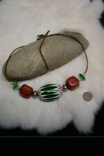 GORGEOUS! WATERMELON CHINESE CHEVRON & CHUNKY AFRICAN AMBER STATEMENT NECKLACE
