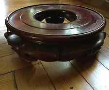 Big Chinese Carved Wood Display Stand Plateau Base Porcelain Fish Bowl Vase Urn