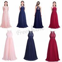d38d34e843e7 Girls Flower Long Dress Bridesmaid Pageant Party Wedding Prom Birthday Dress