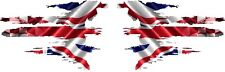 PAIR TEAR UNION JACK WITH RACING CHEQUES  STICKER GRAPHICS DECALS 003