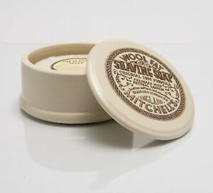Mitchell's Wool Fat Lanolin Shaving Soap & Ceramic Bowl/Dish - 125g - Mitchells