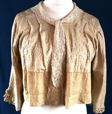 """Vintage Edwardian Silk Jacket Lace Embroidery Wedding Arts & Crafts Bust to 40"""""""