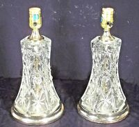 PAIR OF MID CENTURY ART MODERN PRESSED GLASS LAMPS