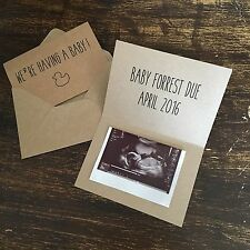 Pregnancy Announcement Cards, Duck outline, Scan, 10 Pack, Kraft, Vintage Rustic