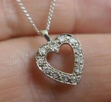 "Vintage 14K White Gold Diamond Heart Pendant on Fine Curb Link Chain 18"" Long"