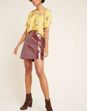 *Brand New* Anthropologie Maeve Deep Red Faux Leather Skirt 14