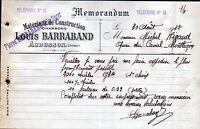 """AUBUSSON (23) MATERIAUX de CONSTRUCTION """"Louis & Pierre BARRABAND"""" en 1912"""