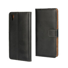 Black Genuine Leather Business Wallet Flip Case Cover Stand For Sony Xperia X