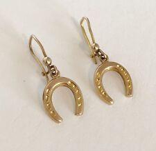 Antique Edwardian 9ct Gold - Lucky Horse Shoe - Drop Dangle Pierced Earrings