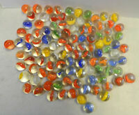 #12453m Vintage Group or Bulk Lot of 100 Peltier Glass Banana Cat's Eye Marbles
