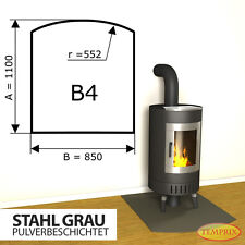 Kaminbodenplatte & Funkenschutz | Stahl grau | 1100 x 850 mm | B4 | Temprix