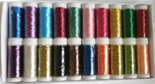 20 Metallic Embroidery Threads Spools, 20 colours 220 YARDS EACH