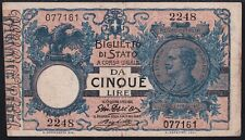 1904 Italy 5 lire Paper Money Banknotes Currency