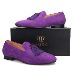 Men FERUCCI Purple Suede Slippers Loafers Flat With Big Purple Tassel