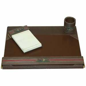CIRCA 1960'S GUCCI BROWN LEATHER BRASS BUCKET DESK STATIONARY SET PEN PAD WRITE