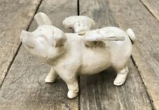 White Flying Pig Cast Iron Vintage-Style Piggy Coin Bank