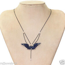 Opal Lapis Carved ANGEL WING Pendant .925 Silver Necklace Diamond Pave 14 K Gold