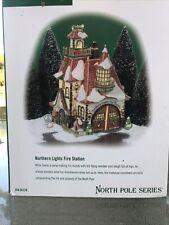 Lot Dept. 56 North Pole Northern Lights Fire Station Lighted House 56730 + Bonus