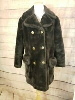 VINTAGE SEARS FASHIONS Womens S Brown Faux Fur Coat w Gold Buttons