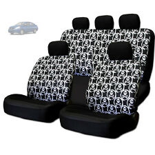 NEW COOL SKULL DESIGN FRONT AND REAR CAR SEAT COVERS SET FOR NISSAN