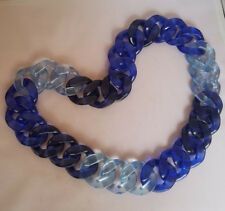 Long Plastic Big Chain Link Dark and Light Blue Necklace Statement Chunky