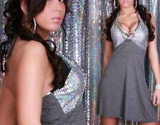 SeXy MiSS Damen Glitzer Pailletten Kleid Ketten Dress grau silber 34/36/38 NEU
