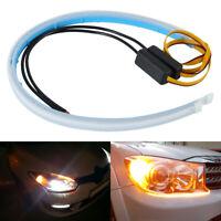 2Pcs Flexible 60cm LED Headlight Slim Strip Light DRL Dynamic Turn Signal Lamp