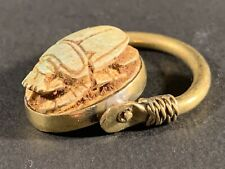 ANCIENT EGYPTIAN BRONZE / GUILDED SCARAB RING WITH HIEROGLYPHS - CIRCA 770-332BC