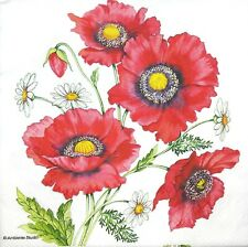 3 x Single Paper Napkins Decoupage Craft Tissue Red Poppies Flowers Bunch M688