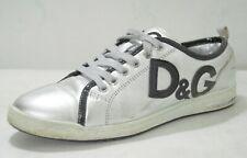 Dolce&Gabbana Women Metallic Silver w Black Leather Trim RoundToe Sneakers 38.5