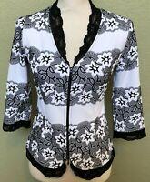 Joseph Ribkoff Jacket Size 4 White Black Lace Stretch Tailored Front Zip Blazer