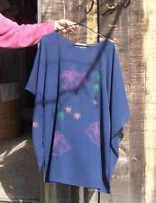 VTG. NAVY BLUE SEMI-SHEER CREPE HAND PAINTED TUNIC BLOUSE  w/BAT WING SLEEVES