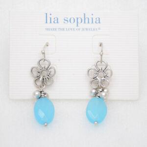 Lia sophia jewelry antique silver plated blue beads flower drop dangle earrings