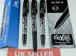 PILOT FRIXION  ROLLERBALL ERASABLE PENS 0.7MM BL-FR7-B BLACK BLUE UK seller