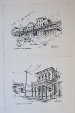 TWO Virginia City NV Town Scene Pen & Ink Drawing Prints by D. Paulsen - 2