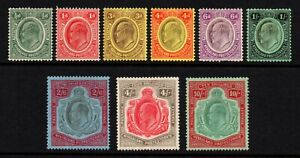 Nyasaland 1908 King Edward VII set to 10s., MH (SG 72/80)